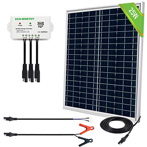 ECO-WORTHY 25 Watts 12V Off Grid Solar Panel SAE Connector Kit: Waterproof...