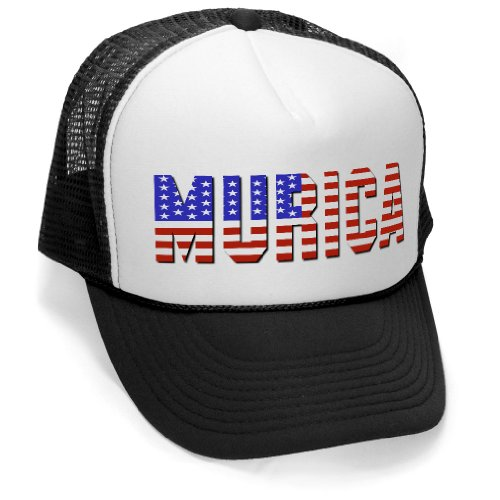 Murica Fourth of July USA - 4th America Patriot Mesh Trucker Cap Hat Cap, Black