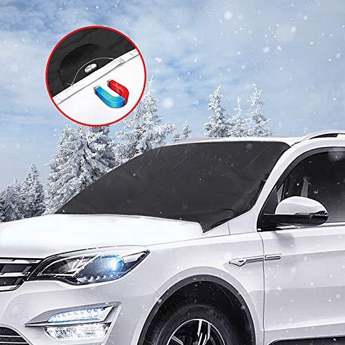 mixigoo Frontscheibenabdeckung Auto Scheibenabdeckung Windschutzscheibe Magnet Faltbare Abnehmbare Auto Abdeckung für die Windschutzscheibe gegen UV-Strahlung, Schnee, EIS, Frost, Staub und Sonne