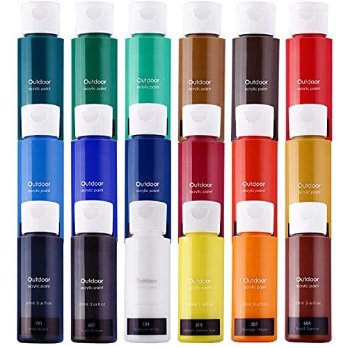 Acrylic Paint Set, 18 Colors Large 18×59ml (2 oz) Art Craft Paint Supplies for Canvas Wood Ceramic Rock Painting, Rich Pigments Non Toxic Paints for Kids Beginners Students Adults Artist Painter