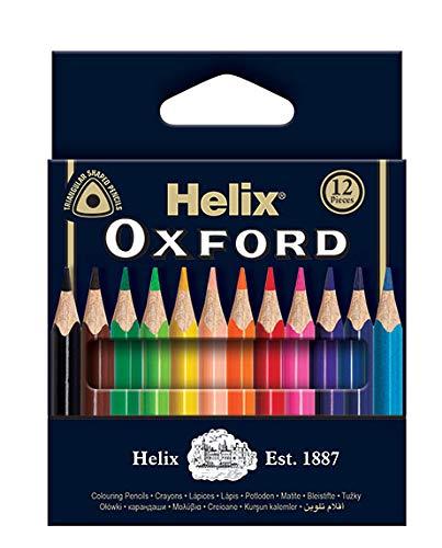 Helix Oxford Buntstifte 12 Mini-Bleistifte. sortiert