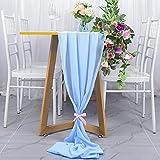 Camino de mesa de gasa azul bebé 29 x 120 pulgadas camino de mesa al aire libre boda fiesta decoración romántica boda camino de mesa de gasa transparente camino de mesa de novia decoraciones de fiesta