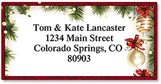 Christmas Twilight Personalized Return Address Labels – Set of 144, Large, Self-Adhesive, Flat-Sheet Labels with Border, By Colorful Images