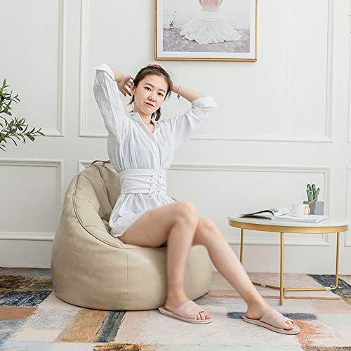 Tbaobei-Baby Divano Pelle Bean Bag Chair Mobili con poggiapiedi Ideale for i Giochi Video o Rilassante Pigro Bean Bag Pigro Bean Bag Flessibile (Color : Beige, Size : 75x87x6cm)