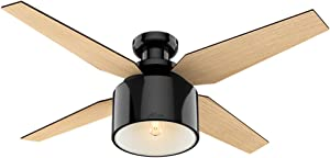 "Hunter Fan Company 59259 Cranbrook Low Profile Gloss Black Ceiling Fan with Light & Remote, 52"""