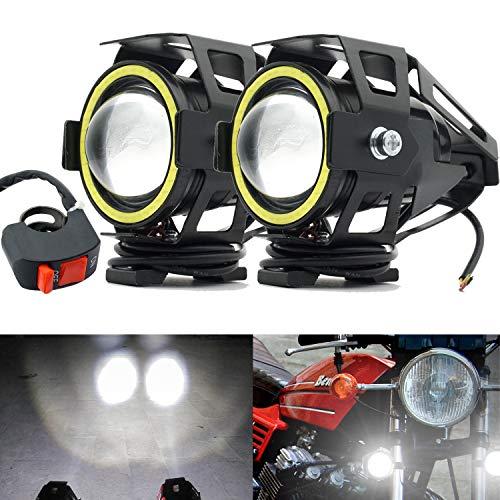 Faros Delanteros para Motocicleta,U7 Faros Auxiliares de Moto Anillo de Halo Blanco...