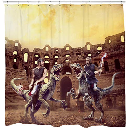 Sharp Shirter lustiges Duschvorhang-Set, cooles Badezimmer-Dekor, Gladiatoren, Reiten, Dinosaurier, mittelalterliches Design, wasserdichter Stoffhaken enthalten