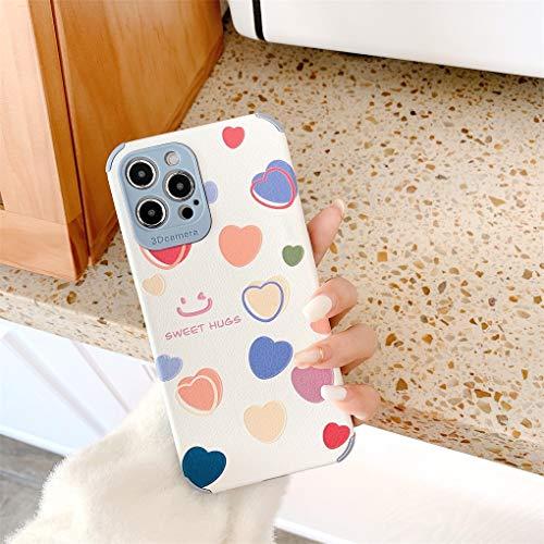 Hadwii Cover per iPhone 12 mini, ultra sottile, in silicone, con motivo a cuore, alla moda, flessibile, antiurto, antigraffio, flessibile, in TPU, per iPhone 12 mini, colore: bianco