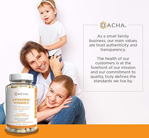 51Ep7eD7AxL - DACHA Nutrition Natural Liposomal Vitamin C - Immune System & Collagen Booster, High Absorption Fat Soluble VIT C, Buffered 1200mg, Anti Aging Skin Vitamins, Anti Inflammatory, Sunflower Lecithin