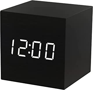 LED Wood Digital Alarm with Day Date Temperature Humidity 3 Brightness Voice Control Indoor Thermometer Hygrometer for Bed...