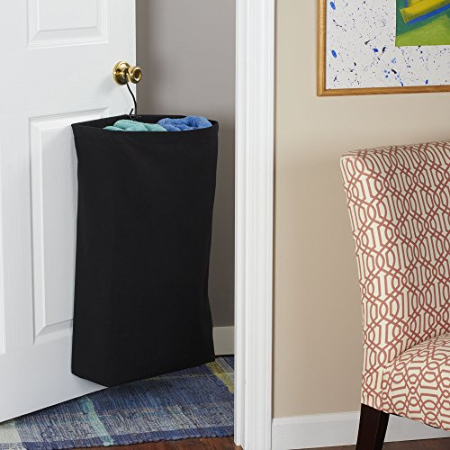 Household Essentials 149-1 Hanging Cotton Canvas Laundry Hamper Bag - Black