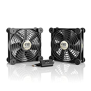 AC Infinity MULTIFAN S7 Quiet Dual 120mm USB Fan UL-Certified for Receiver DVR Playstation Xbox Computer Cabinet Cooling