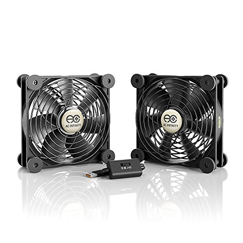 AC Infinity MULTIFAN S7, Quiet Dual 120mm USB Fan, UL-Certified for Receiver DVR Playstation Xbox Computer Cabinet Cooling