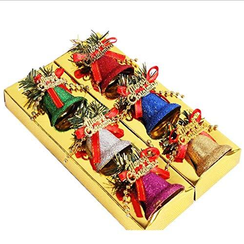 Campana grande de Navidad con bowknot campanas de puerta 6 piezas de 4,1 cm de vacaciones árbol de Navidad, colorido campana para Navidad-1 set