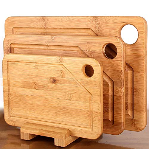 Mohy Premium Bamboo Cutting Board - 3 Set (Large 17'' x 12'', Medium 15'' x 10'' and Small 12'' x 8'') 0.8'' Thick with Holder and Juice Groove, Kitchen Chopping Board for Meat, Cheese and Vegetables