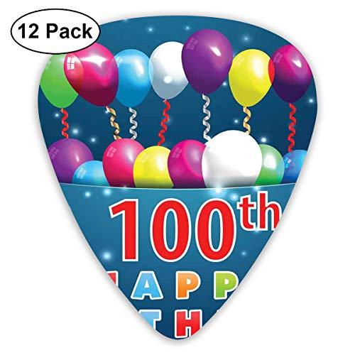 Gitaar Picks12pcs Plectrum (0.46mm-0.96mm), Kleurrijke ballonnen op ster als stippen 100 Jaar Verjaardag, Voor Uw Gitaar of Ukulele