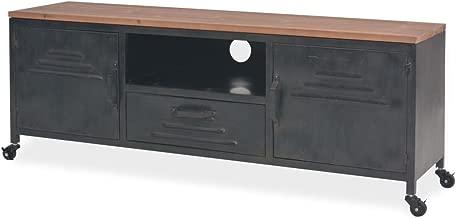 Nishore Mesa para TV con 1 Cajón, 1 Estante y 2 Armarios Mueble Comedor de Estilo Industrial y Antiguo Decorativa para Dormitorio Estar Acero Galvanizado Negro 120 x 30 x 43cm
