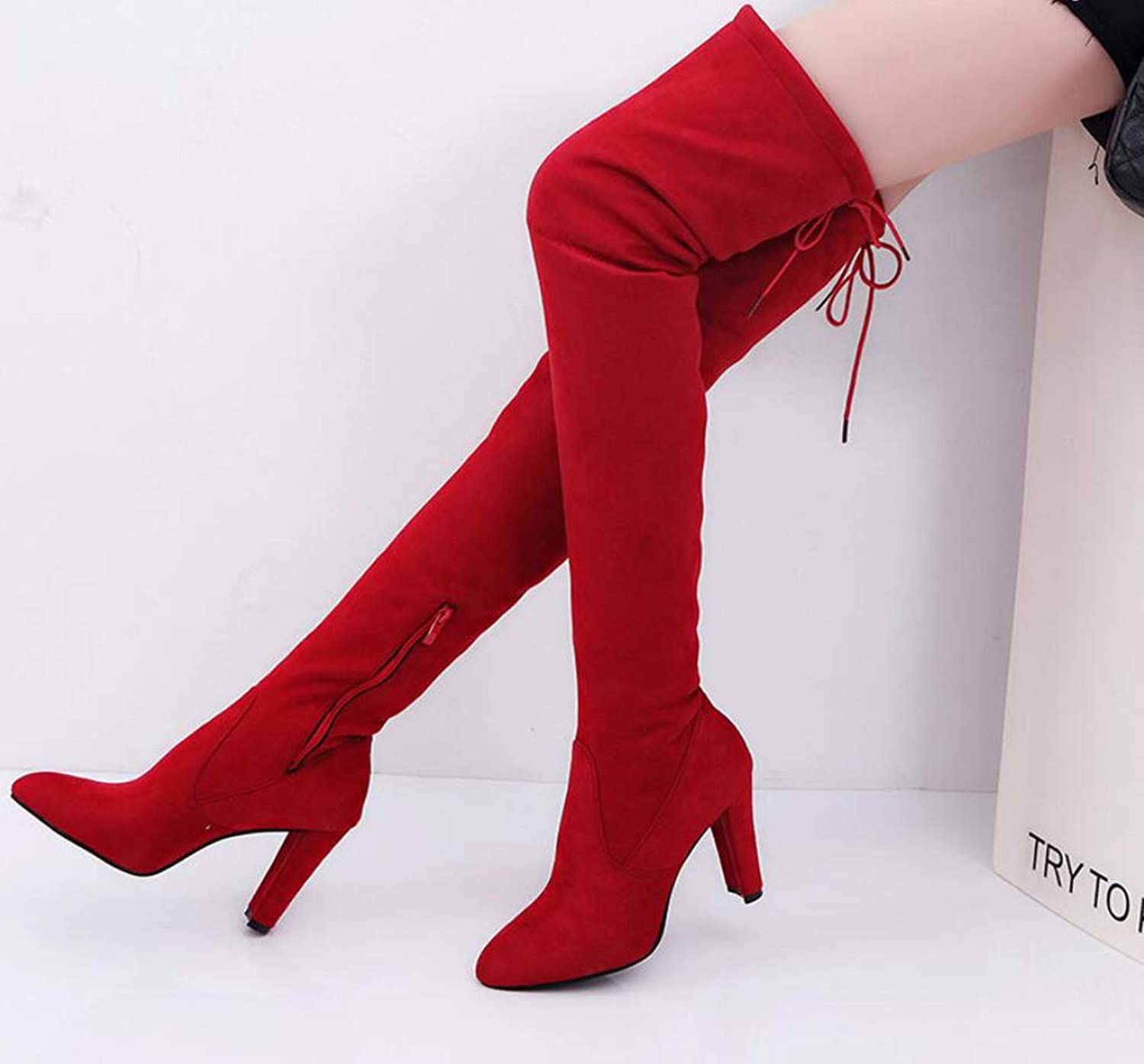 Long Boots, Autumn and Winter Pointed High Heel Women's Boots, Stylish Zipper, Thin Legs, Over The Knee Boots, Elastic Boots,Red,43