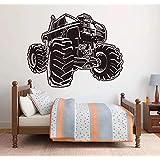 Cwinan 大型モンスタートラックカーオートレーススポーツウォールステッカー家の装飾ボーイルームプレイルームデカール漫画保育園壁画74X57Cm