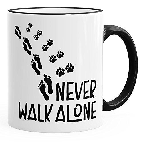 MoonWorks Kaffee-Tasse Never Walk Alone Hund Pfoten Hundepfoten Pfotenabdrücke Hundebesitzer schwarz Unisize
