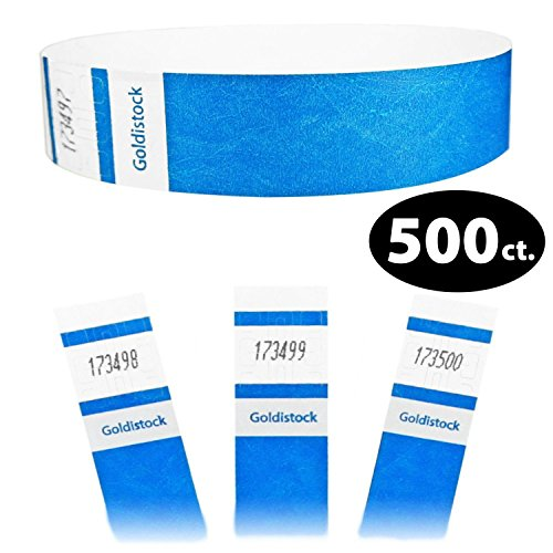 Goldistock Select Series – 3/10,2 cm Tyvek Wristbands vibrante Deep neon Blue 500 count – Event identificazione fasce (Paper – like texture)