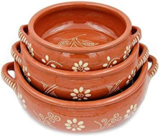 Traditional Portuguese Hand-painted Vintage Clay Terracotta Cooking Pot Cazuela