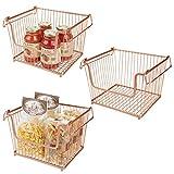mDesign Juego de 3 cestas metálicas con asas – Organizador de cocina con...