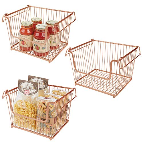 mDesign Juego de 3 cestas metálicas con asas – Organizador de cocina con atractivo diseño de rejilla – Cesto organizador de metal para armarios de cocina, despensa o cuarto de baño – color cobre