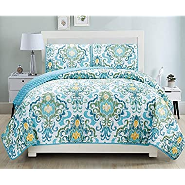 3-Piece Fine printed Quilt Set Reversible Bedspread Coverlet KING SIZE Bed Cover (Turquoise, Blue, White, Green, Yellow)