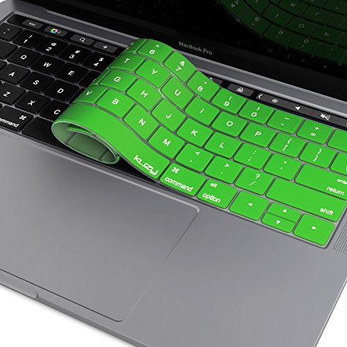 Kuzy Compatible with MacBook Pro Keyboard Cover with Touch Bar for 13 and 15 inch 2019 2018 2017 2016 (Apple Model A2159, A1989, A1990, A1706, A1707) Silicone Skin Protector, Green