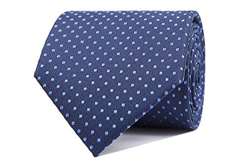 Sologemelos - Cravate Pois - Bleu, Bluette 100% soie naturelle - Hommes - Taille Unique - Confection artesanale Made In Italy