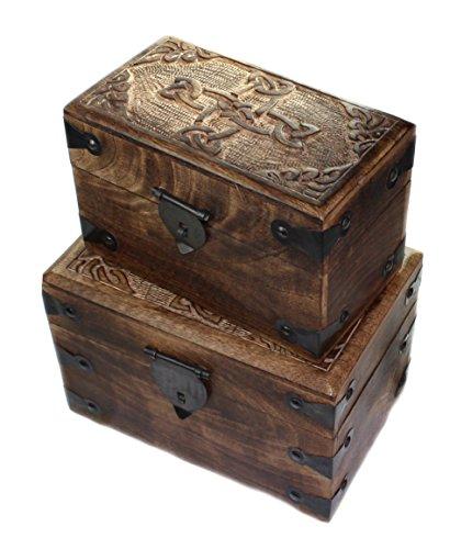 budawi-Deko & Schönes Holztruhe Holzkiste Keltisches Kreuz Ewigkeit Kelten Knoten Box Schachtel Schatule