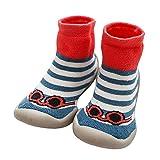 LPATTERN Calcetines Estampados Primeros Pasos con Suela de Goma Antideslizantes para Bebés Niños Zapatillas de Algodón Invierno, Azul y Rojo, 24/25 Longitud interior:14.5cm