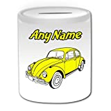 Personalisierter Geschenk-Bright Yellow (Verkehr Beetle Classic Spardose, Design '- ein Name und Weiß Nachricht an ihr einzigartiges, VW Volkswagen Käfer-Auto-KFZ Auto KFZ-Retro-Design...