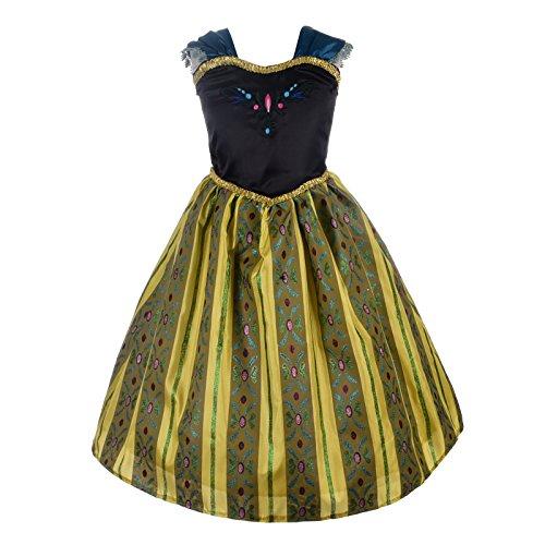 Lito Angels Mädchen Prinzessin Anna Kleid Kostüm Weihnachten Halloween Party Verkleidung Karneval Cosplay 8-9 Jahre