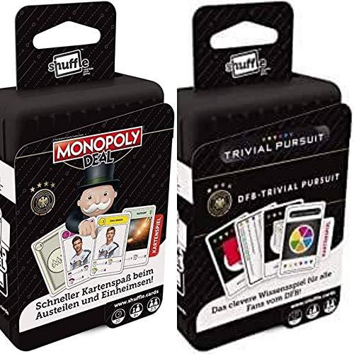 Ass Shuffle Monopoly Deal Kartenspiel und DFB Shuffle Trivial Pursuit Kartenspiel 2er Set
