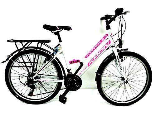KRON 26 Zoll Fahrrad Damen Mädchen Fahrrad City Bike 21 Gang Shimano Weiss pink neu