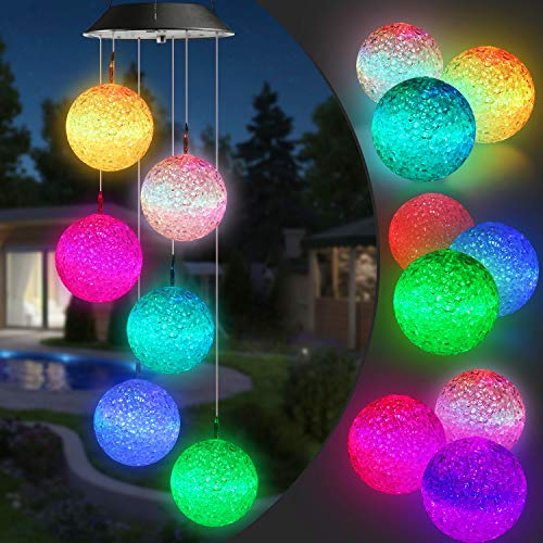 Toodour Solar Wind Chime, Color Changing Solar Ball Wind Chimes, LED Decorative Mobile, Waterproof Outdoor Decorative Lights for Garden, Patio, Party, Yard, Window Decorations