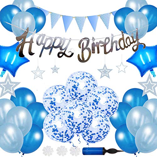 Happy Birthday Decoration Set, Balloons, Blue, Birthday Decoration, Garland, Birthday Party, Men, Girls, Inflation Included