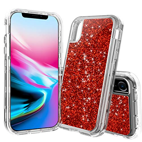 iPhone XR Case,ACXLIFE iPhone XR Transparent Glitter Case,iPhone XR Clear Shockproof Full Body Protective Case for iPhone XR 6.1 Inch (red)