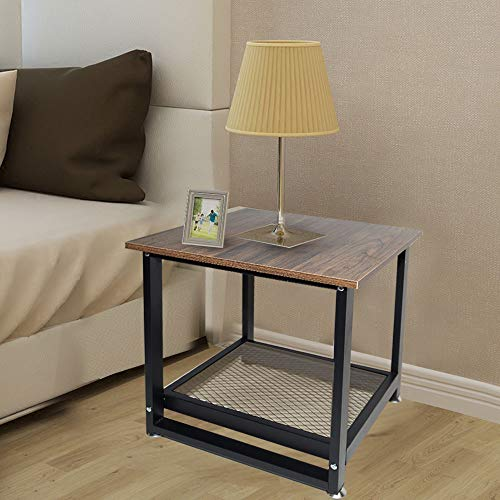Fantastic Deal! Nightstand Cabinet Bedside Metal Frame Vintage Wood Small Computer Desk Sturdy and H...
