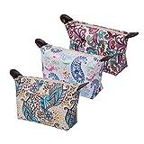 HOYOFO Set of 3 Women's Travel Cosmetic Bags Small PU Makeup Clutch Pouch Bag Handy Toiletries Organizer Bag