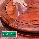 ZMZM0919 Mantel Redondo De PVC De Plástico Blando Esmerilado, Mantel De Mesa Transparente Redondo Mantel Impermeable Y Resistente Al Aceite (Color : 2.0mm, Size : 120cm)