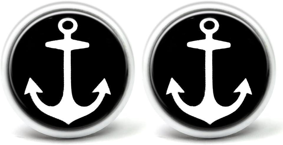 Ohrstecker Anker-Motiv Ø 12 mm, 14 mm in Schwarz und Weiss Ohrringe Damen in Schmuckschachtel
