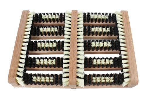 Bubble-Store Schuhputzer, Schuhabstreifer aus Massivholz mit robusten Kunstfaserborsten, Fußabtreter Außenbereich, Unterseite mit rutschfestem Gummiprofil