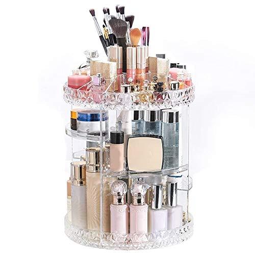 Verdelife Organizador de maquillaje, organizador de cosméticos, patrón transparente en forma de diamante, rotación de 360 grados, gran capacidad puede ahorrar espacio de almacenamiento del aparador