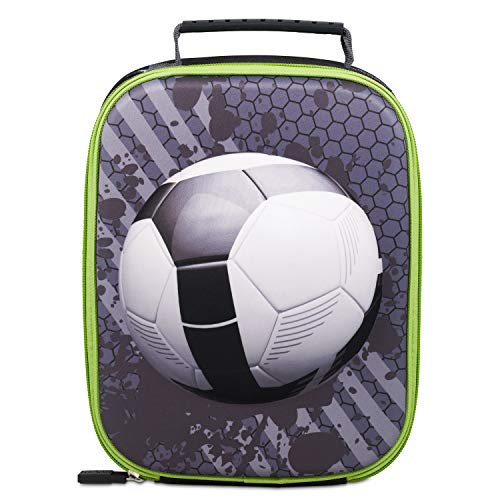 Polar Gear Football Insulated Lunch Bag Isolierte Lunchtasche mit Fußball-Motiv, Polyester, Eva, Schaumstoff-Isolierung, PEVA-Futter, PVC-Oberteil, schwarz/weiß, Einheitsgröße