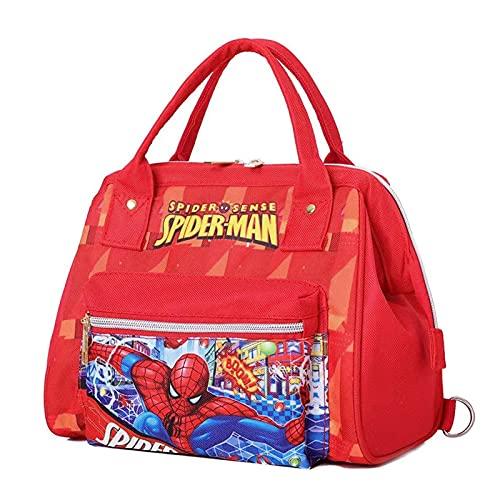PDVCB Durable Bolso Escolar para niños portátil Spiderman Kindergarten Portátil Mochila de Doble Uso Regalo de niño (Color : Red)
