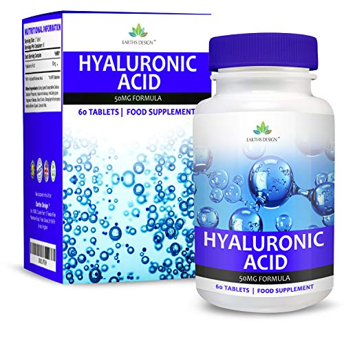 Hyaluronic Acid - Maximum Strength Supplement for Men & Women - Suitable for Vegetarians - 60 Tablets (2 Months Supply) by Earths Design