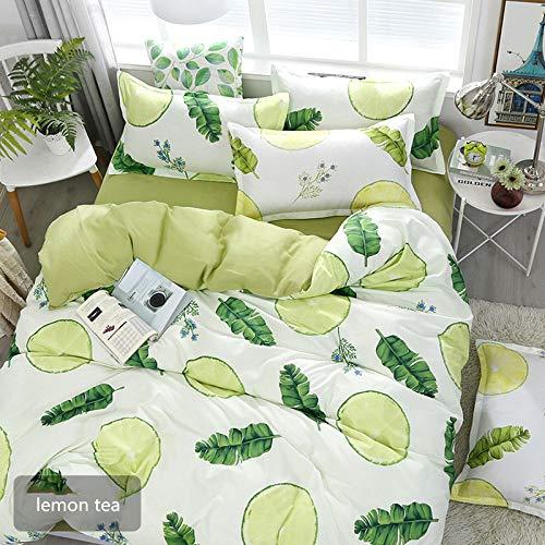 QWEASDZX Cotton Bilateral Four-Piece Cotton Washed Sheets Quilt Cover Pillowcase Bedding Set Zipper Design Machine Washable 2.2m